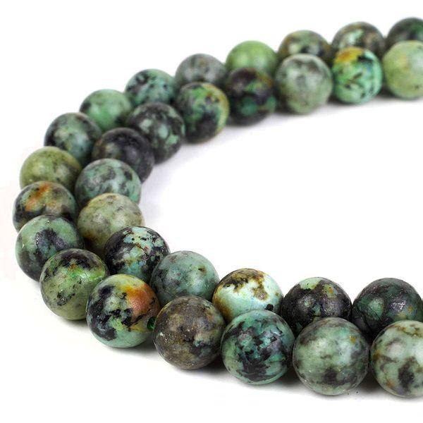 Naturstein Afrikanische Türkis Perlen Runde Edelstein Lose Perlen für DIY Armband Schmuck Machen 1 Strang 15 Zoll 4 6 8 10 mm
