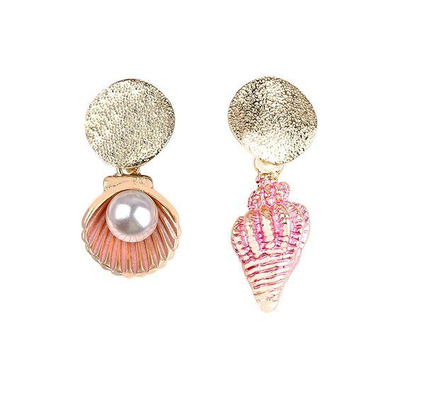 Pearl earring fashion shell conch ear decoration ear 925 silver needle ear nail