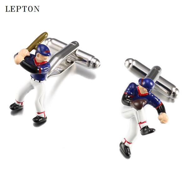 Heißer Verkauf Baseball Manschettenknöpfe Für Herren Lepton Edelstahl handgemalte Abbildung manschettenknöpfe Männer Hemdmanschetten Manschettenknopf Uhren