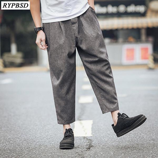 Men Crotch Pants Casual Fashion Harem Trousers Men Linen Wide Leg Pants 2 Colors Linen Loose Pants Men Plus Size M-4xl C19041201