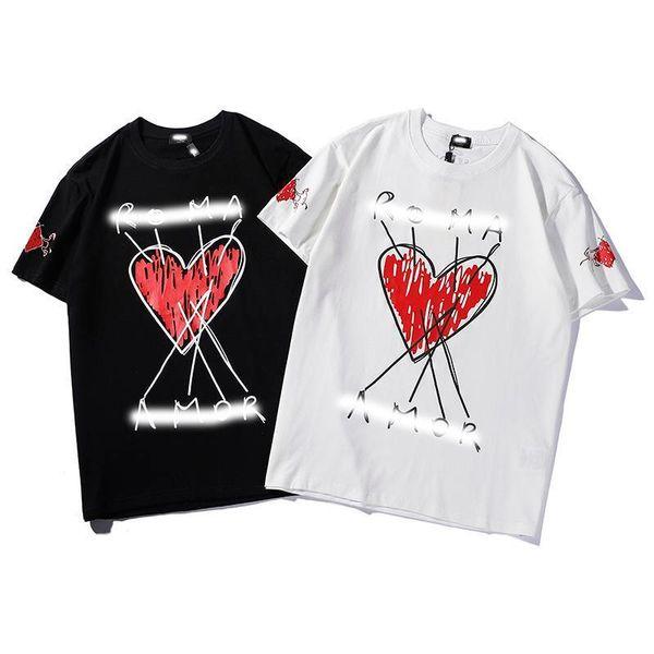 2019 uomini s estate nuovi uomini t-shirt a forma di cuore lettere stampa design uomini e donne coppie cotone girocollo mezza manica