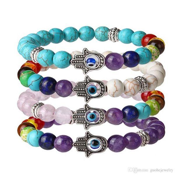 Wholesale fashion design beads lave stone colorful energy hand beads Fatima palm eye bracelets friendship bracelet