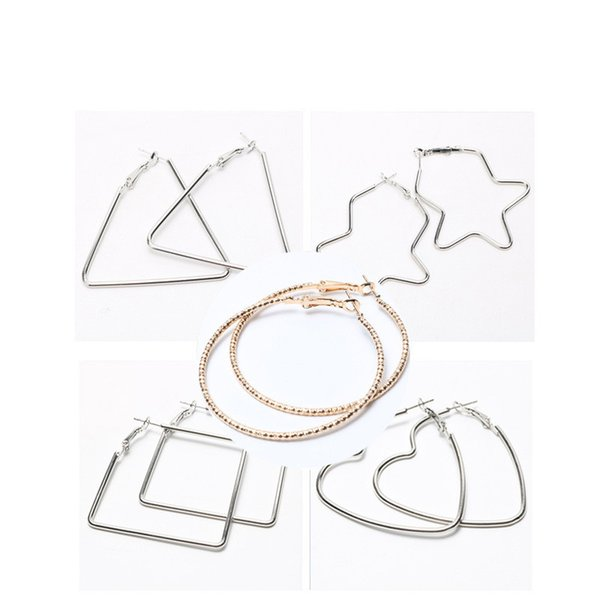Gold Silver Hoop Earrings for Women Hollow Heart Exaggerated Statement Earrings Mujer Boho Jewelry Femme Gift 6 Styles