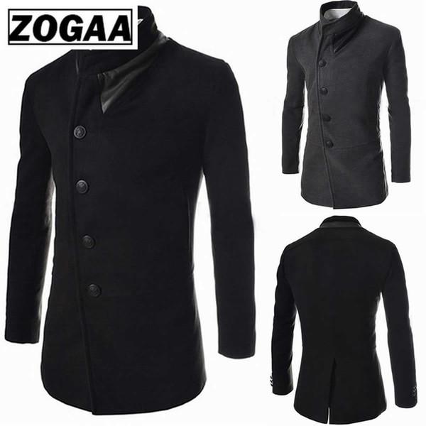 ZOGAA Fashions Plaids and Tweeds Vestes Homme Manteau Longs Manteaux D'hiver Survêtement 2018 Automne Pardessus Casual Noir Gris Veste Hommes