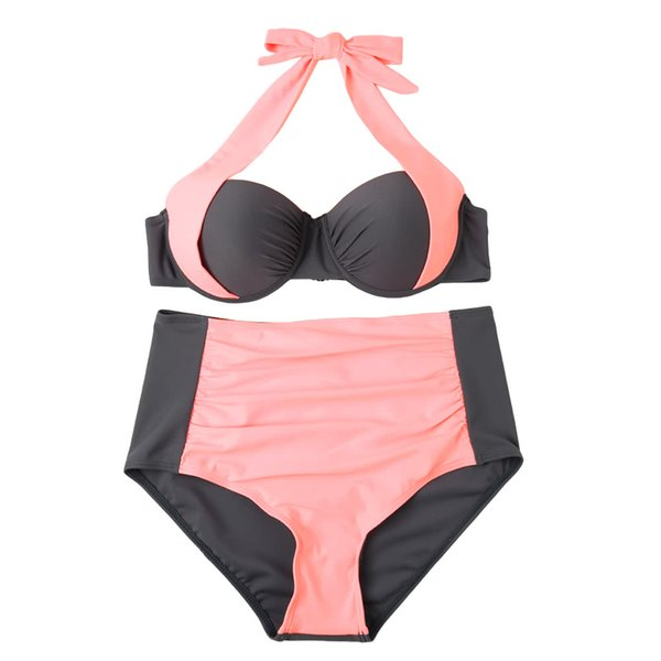 Beachwear Sexy Women Bikini Set Contrast Color Block Underwire Halter Top High Waist Bottom Beach Swimwear Swimsuit Bathing Suit GS191P-XL