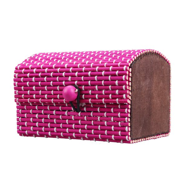 Hot Selling 1PC Ring Necklace Earrings Bamboo Wooden Jewelry Storage Boxes Makeup Organizer Cosmetic Desk Storage Container