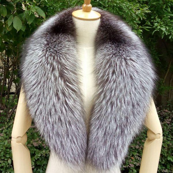 100cm Real Fox Fur Collar Black Fur Scarf Natural Raccoon Silver Fox Scarves Women Winter Warm Thick Long Genuine Scarf