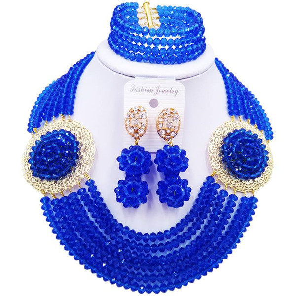 Ethnic Blue Crystal Women Party and Evening Beads Necklace Earrings Sets 6C-SPH-04