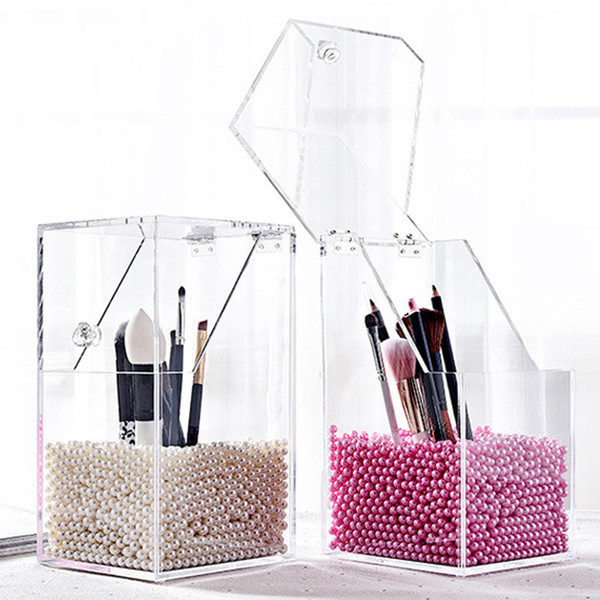 New arrival pla tic makeup bru h holder du tproof torage box makeup organizer rangement pencil holder lip tick organizer