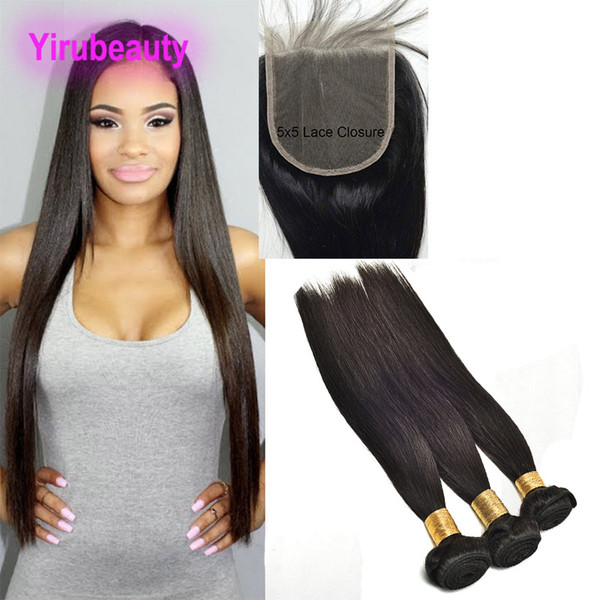 Peruvian Human Hair Bundles With Closure 5X5 Lace Closure With 3 Bundnles 8-28 Inch Straight Virgin Hair Extensions With 5*5 Closure
