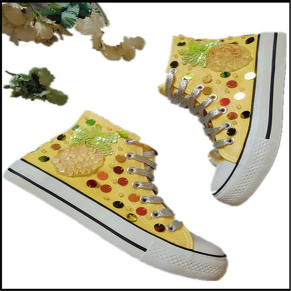 European station Thailand pineapple tide brand high-top belt color canvas shoes sequins tassel flat-bottomed sneakers