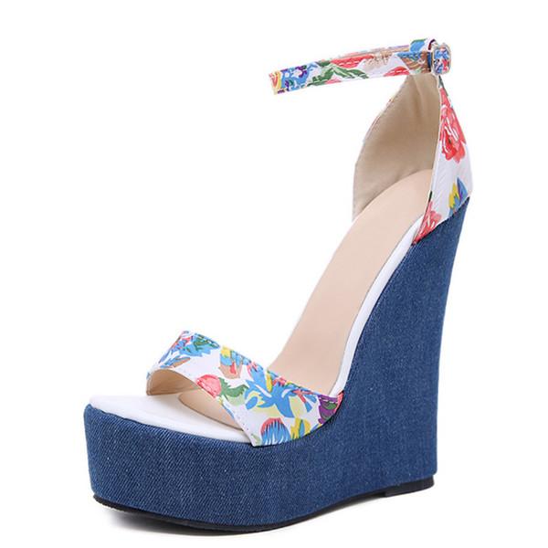 2019 New Designer Women Print Denim Sandals Roman Sandals High Quality Wedges High Heels Peep-Toe Platform Shoes Woman