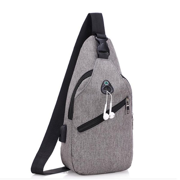 New men's chest bag gray male Messenger Shoulder Bag youth Casual travel usb charging large capacity multi-function