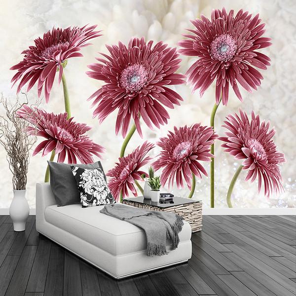 Sob encomenda da foto papel de parede 3d margarida vermelha flores mural sala de estar quarto romântico backdrop parede pintura moderna simples papéis de parede