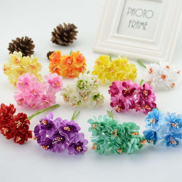 6pcs Cheap Silk Stamen Artificial Home Wedding Decoration Diy Wreath Decorative Bride Bouquet Brooch Fake Flowers C19041701