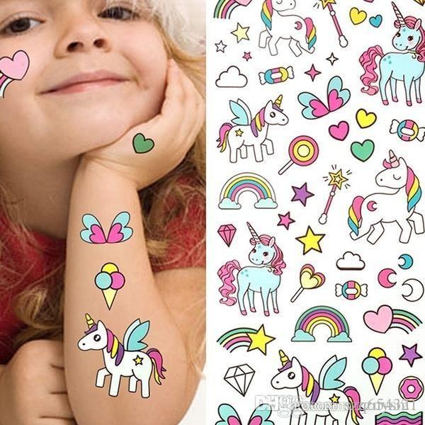 Bikini-Aufkleber für Strand im Sommer wasserdicht temporäre gefälschte Tätowierung Aufkleber rosa Einhorn Pferd Cartoon Design Kinder Kind Body Art Make Up