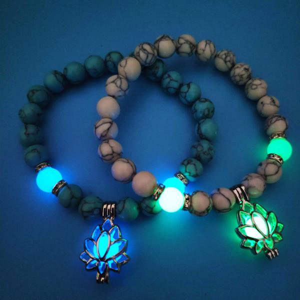 turquoise beaded bracelet yoga energy luminous lotus stretch beaded bracelet crystal alloy bracelets for woman man gifts