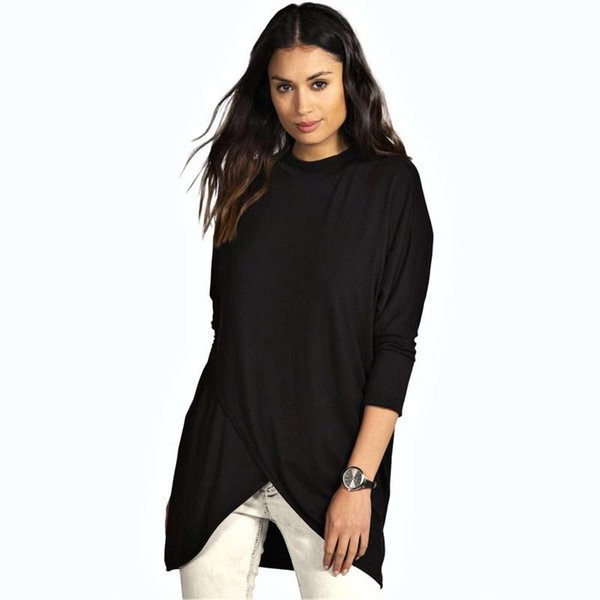 Women's T-shirts Loose Women Bat Sleeve Shirt V-shaped Hem Round Neck Large Plus Size T-shirt Female Autumn