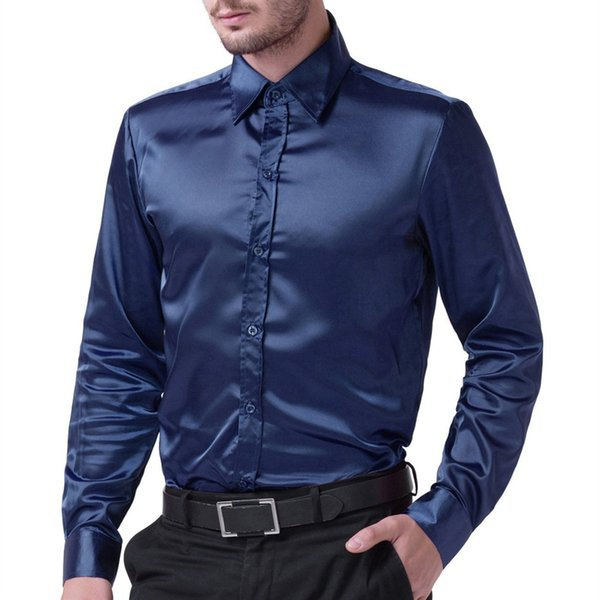 Silk-Like Satin Men shirt Stylish & Slim Fit Solid Color Long Sleeve business office Shirts Casual & formal stretch Tops S~XL #389338