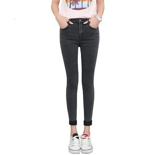Spring Autumn Women Ankle-Length Cuffs Black Jeans Students Stretch Skinny Female Slim Pencil Pants Denim Ladies Trousers