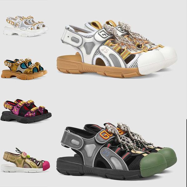 2019 mais recente das mulheres quentes dos homens sandálias 3 m material flash casual shoes, top de couro e sandálias de malha, com sandálias de cristal de primavera, tamanho 35-44