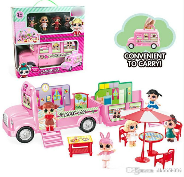 LoL Plastic Camper Toys for Children With 4pcs Dolls Action Figures Dolls Baby Girls Toys Cars Convenient to Carry