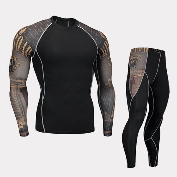 Fashion Long Sleeves Men's sets 3D Prints Tight Skin Compression Shirts for Men MMA Rashguard Male Body Building Top Fitness