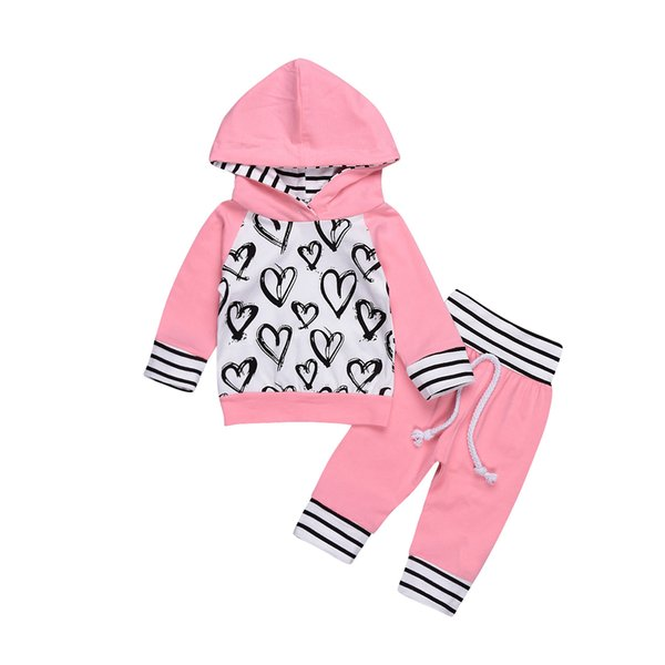 Kids Clothing Fashion Cute Infant Newborn Baby Girl Clothes Hooded Sweatshirt Striped Pants 2pcs Outfit Cotton Baby Tracksuit Set