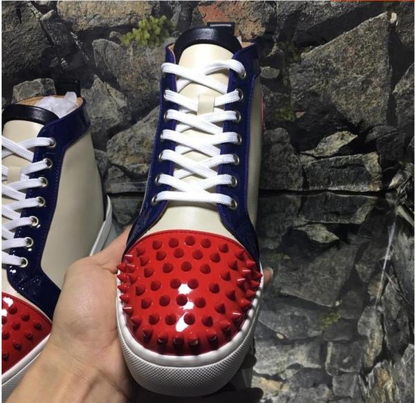 Новый 2019 мужские женские красные шипы toe кожа красный бот высокий топ кроссовки, дизайн бренда высокое качество причинно-следственных спорт shoes35-46 drop shipping