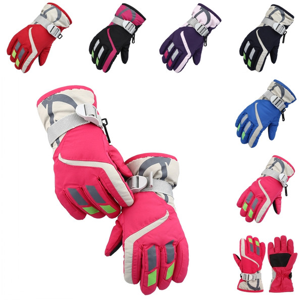 best selling 6 Colors Winter Children's Waterproof Snow Gloves Outdoor Kid's Skiing gloves Snowboarding Gloves For the Kids Christmas Gift H903R