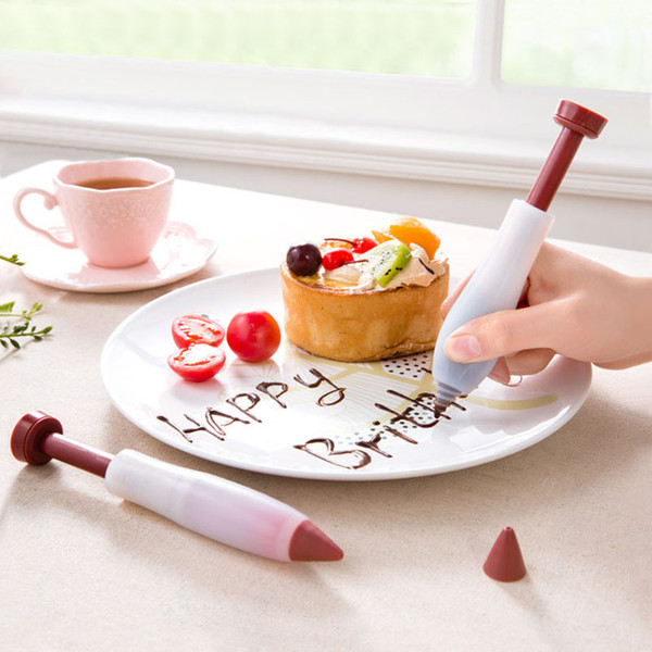 13.5*2.7cm Pastry Pen Cream Chocolate Fruit Jam Plunger Design Cake Decorating Supplies Silicone+Plastic Icing Piping Pen