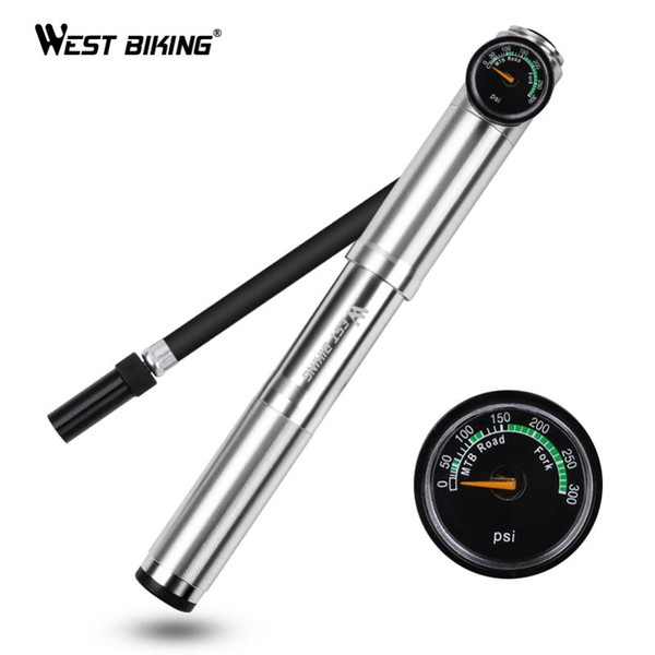 Aluminum Bicycle Bike Tyre Tire Air Inflator Pump Manometer With Pressure