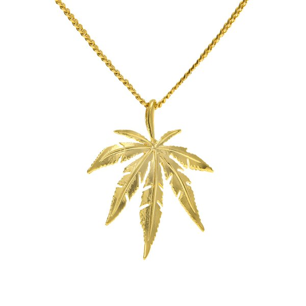 Europe and the United States big name HIPHOP dance man hemp leaf necklace alloy HIPHOP necklace accessories wholesale