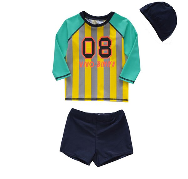 2019 Summer boys stripe swimsuits kids letter printed long sleeve swimwear+swim trunks 2pcs sets kids SPA beach split bathing suits F3612