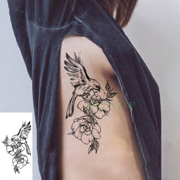 Tatuaje Temporal A Prueba De Agua Pegatina Pájaro Pluma Ala Flor Falso Tatuaje Flash Tatuaje Grande Arte Tatuajes Para Niña Mujeres Hombres Niño Por