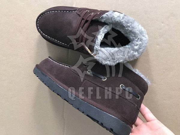 Men shoes keep warm in winter Add cotton Cotton-padded shoes Fashion casual shoes Soft soles Sports style Black Brown Real cowhide boots 11
