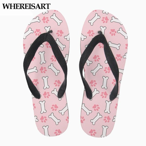 WHEREISART Cat Pink Women Slippers Casual Stylish Summer Female Flip Flops Flats Slip-on Home Slippers for Ladies Zapatos