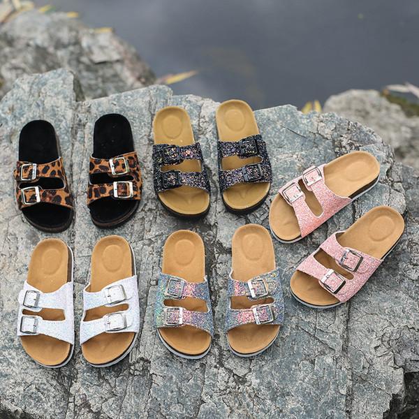 Été femmes plage liège pantoufles occasionnels sandales paillettes diapositives double boucle sabots femmes glisser sur des tongs chaussures chaussures MMA2177