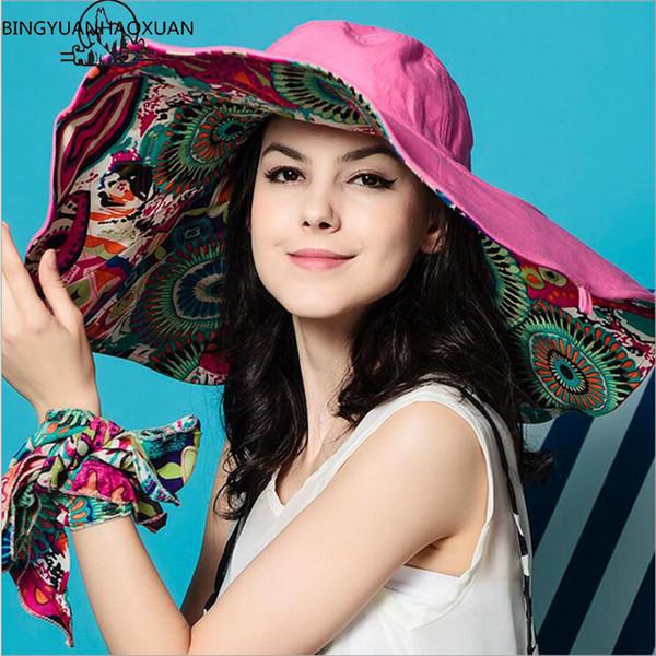 BINGYUANHAOXUAN Sun Hats ! Hats Sun Hats For Women Summer Large Beach Hat Flower printed wide brim D19011106