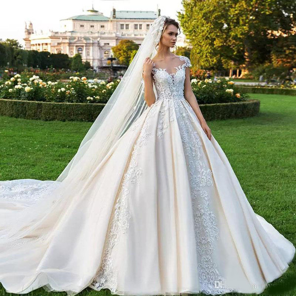 Elegant White Wedding Gowns High Quality Exquisite Beading Ball Gown Engagement Dresses Long Train Church Bridal Gowns