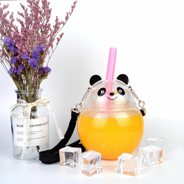 PET Factory direct sale of disposable bear cartoon with straw juice drink water bottle Children's Cartoon Water Cup