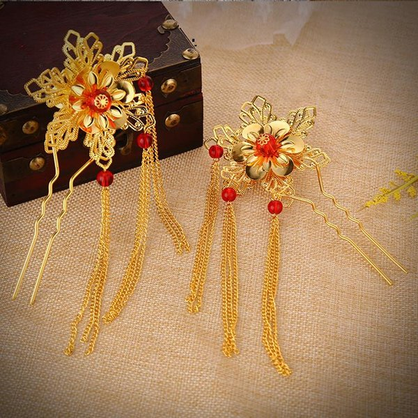 Classical Vintage Gold Flower Bridal Hair Sticks Tassel Traditional Chinese Style Hairpin Hair Jewelry Wedding Accessories