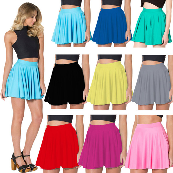 9 colors solid women summer black skirts above knee red blue silver green pink yellow skater skirts s to 4xl