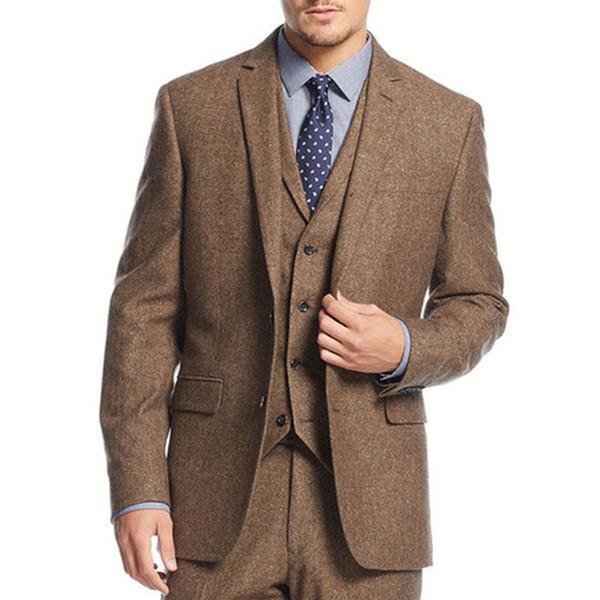 Tailor Winter Brown Tweed Men Suit 3 Pieces Mens Wedding Party Blazer Suits Groom Tuxedo Bridegroom Costume Jacket Pant Vest