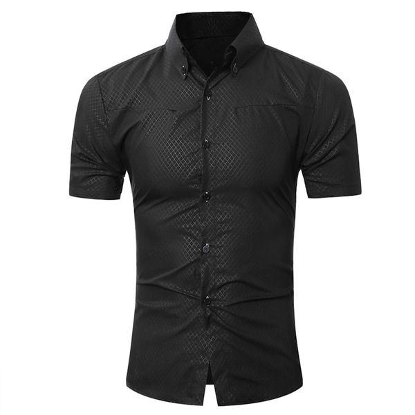 Fashion Male Hawaiian Shirt Short-Sleeves Tops Small Grid Solid Color Mens Dress Shirts Slim Men Shirt 5XL