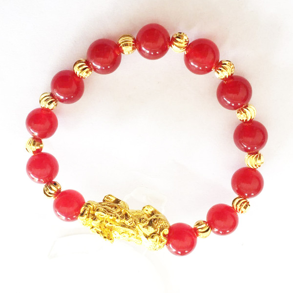 Gold Plated Animal Wealth Pixiu Bracelet Natural Stone Agate Beads Bracelet Chinese Feng Shui Men and Women Jewelry