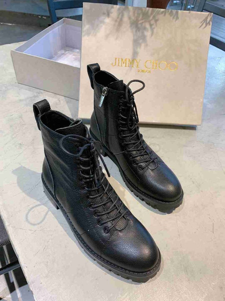 Low Boot In Womens Designer Shoes In Black Leather Ladies Block Low Booties With Side Zip Size 35-41 Women's Fashion Korean Style