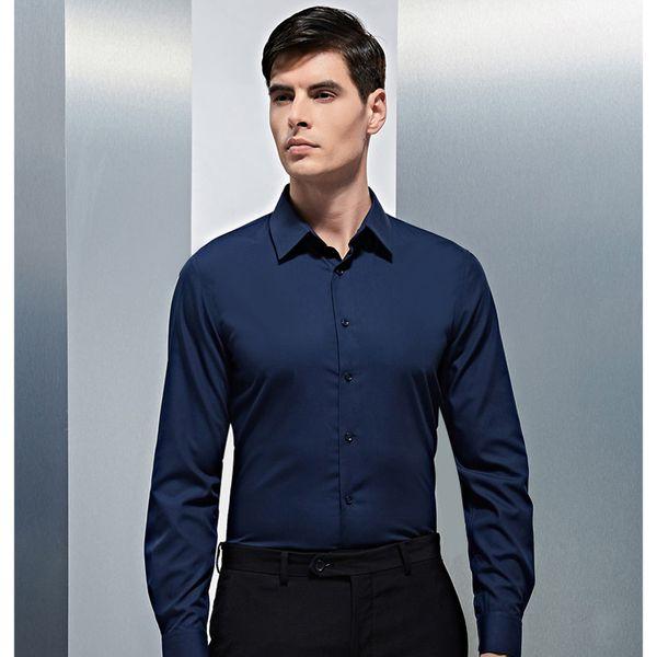 2019 New Fashion Men's High Quality 100% Cotton Solid Color Romantic Wedding Groom Dress Shirt Slim Fit Suit Dress Shirt for Men