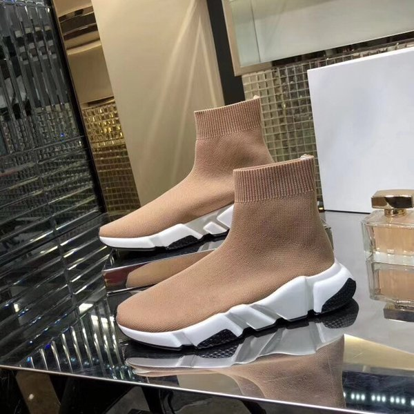 Nouveau Designer de mode de luxe pour femmes hommes Speed Trainer Rouge Triple Noir Flat chaussures de sport Chaussette Sneaker chaussure livraison gratuite fz19050113
