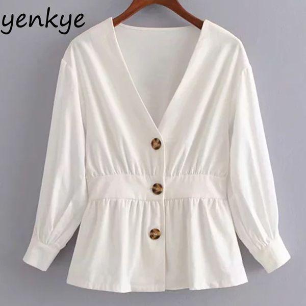 Kadın Kontrast Ön Düğme Ince Beyaz Bluz Gömlek Kadın V Boyun Üç Çeyrek Kol Bayanlar Gömlek Yaz